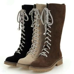 Women Mid Calf Knight Boots Low Heel Flats Lace Up Combat Ou