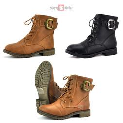 Women Military Combat Boot Round Toe Faux Leather Lace up Zi