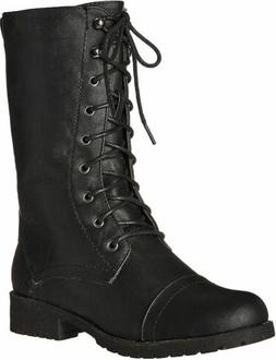 Women Military Combat Boots Mid Calf Lace up Side Zipper Fau