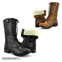 Women Military Combat Mid-Calf Boots Lace Up Soda Foldable F