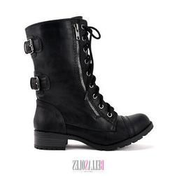 women military combat mid calf boots lace