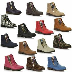 DailyShoes Women Military Lace Up Combat Booties Ankle High