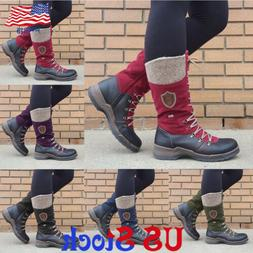 Women Outdoor Combat  Boots Lace Up Flat Round Toe Mid Calf