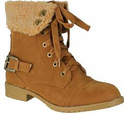 Top Moda Women's AL-5 Military Combat Boots with Faux Lining
