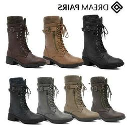 DREAM PAIRS Womens Winter Combat Boots Lace Up Mid Calf Warm