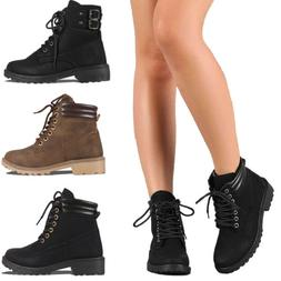 Women Combat Military Boots Boots Booties Lace Up Block Heel