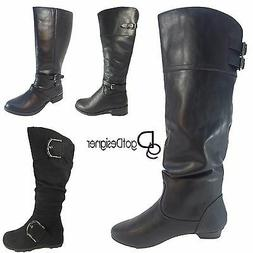 Women's Black Combat Military Boots Zipper Buckle New Fashio