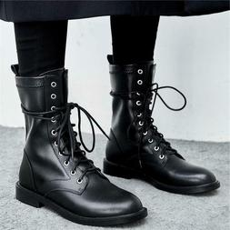 Women's Black Lace Up Leather Ankle Boots Military Combat Ou