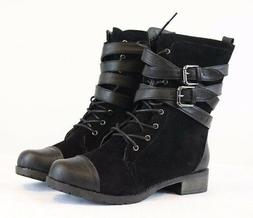 Women's Black Suede PU-Leather Mid-Calf Military Combat Boot