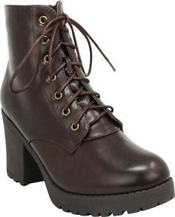 Cambridge Select Women's Combat Lace-Up Chunky Lug Sole Plat