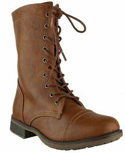 Cambridge Select Women's Combat Military Mid-Calf Lace Up In