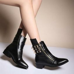 Women's Cuban Heels Outdoor Dress Ankle Boots Shoes Pointed