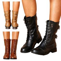 Women's Double Buckle Lace Up Winter Ankle Bootie Mid Calf L