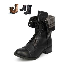 WOMEN'S FOLD OVER MILITARY COMBAT BOOTS, ORALEE