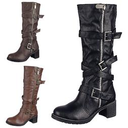 NEW Women's Fashion Knee high Buckle Riding Combat Military