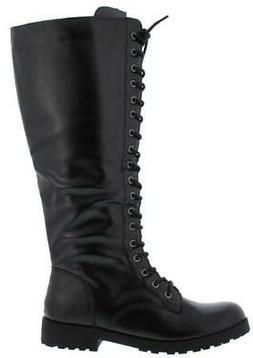Women's Knee High Riding Combat Boot Lace up Side Zip Travis