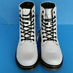 Women's Lace Up Military White Combat Boots Block Heel Lug S