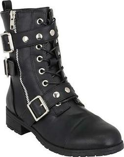 Cambridge Select Women's Lace-Up Moto Strappy Studded Buckle