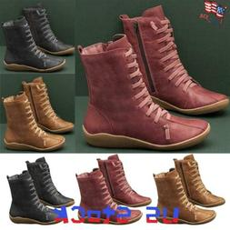 Women's Lace Up Shoes Flat Chukka Boots Ladies Vintage Comba