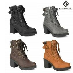DREAM PAIRS Women's Lady Chunky High Heel Ankle Boots Lace U