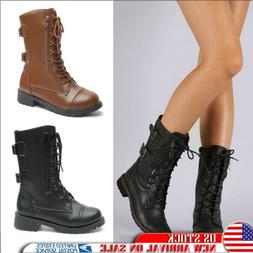 Women's Leather Lace Up Ankle Combat Boots Mid Calf Military