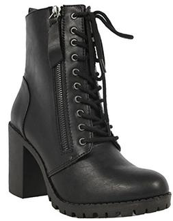 SODA Women's Malia Faux Leather Lace Up Chunky Ankle Boot, B