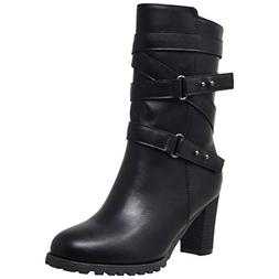Women's Mid Calf Boot Strappy Black Buckle Studded Block Hee