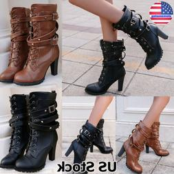 Women's Mid Calf Boots High Block Heel Chunky Buckle Lace Up