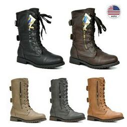 DREAM PAIRS Women's Mid Calf Boots Zipper Leather Combat Boo