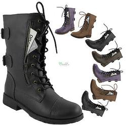 Women's Military Combat  Lace Up Ankle High Boots Credit Car