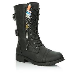 DailyShoes Women's Military Lace Up Buckle Combat Boots Mid