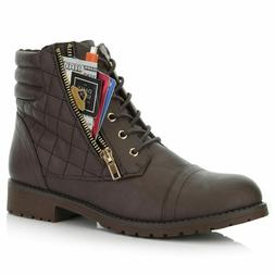 DailyShoes Women's Military Lace Up Buckle Combat Boots Ankl