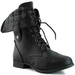Women's Military Lace up Fold-able Ankle Bootie Mid Knee Com