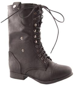 Top Moda Women's Military Lace up Fold-able Ankle Bootie Mid