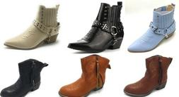 Women's Multi Color Strap Studded Combat Ridding Winter Boot