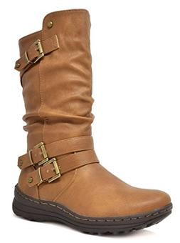DREAM PAIRS Women's New Moscow Camel Faux Fur Lined Mid Calf