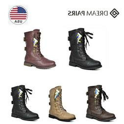 DREAM PAIRS Women Winter Lace up Pocket Combat Mid Calf Ridi