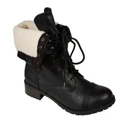 Soda Women's Oral Faux Sherpa Lace Up Combat Boots