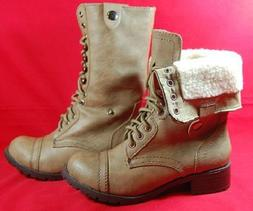 SODA ORAL Women's Combat Boots Tan Military Lace Up Lined Mi