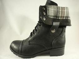 SODA ORALEE Women's Combat Boots Black+Gray Plaid Casual Lac