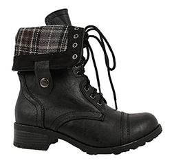 SODA Women's Oralee-S Lace-Up Combat Folded Cuff Riding Mid-