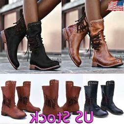 Women's Retro Round Toe Low Heel Combat Military Lace Up Mid