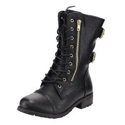 Women's Round Toe Lace Up Side Zip Low Heel Combat Style Boo