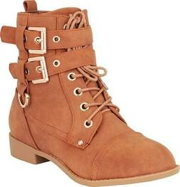 Cambridge Select Women's Strappy Buckle Lace-Up Moto Combat