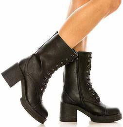Women's stylish Lace Up Mid Calf Ankle Combat Boots Chunky H