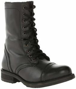Steve Madden Women's Troopa 2.0 Combat Boot Black Leather 8.