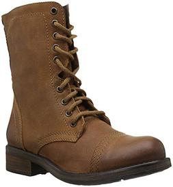 Steve Madden Women's TROPA2-0 Combat Boot, Cognac Leather, 9