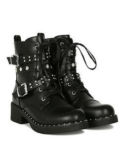 Women Studded Buckle Strap Lace Up Combat Boot 18933