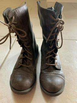 Steve Madden Women Troopa leather Combat Boots