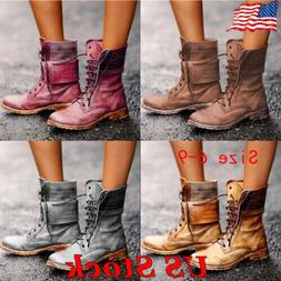 Women Vintage Motorcycle Mid Calf Boots Lace Up Casual Flat